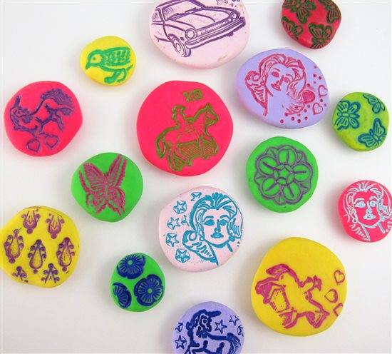 polymer clay pebbles by Laurel Nathanson