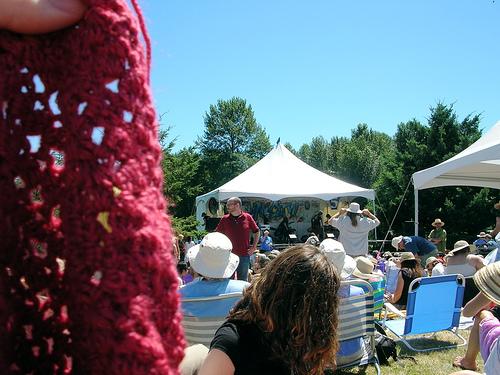 Crocheting at the Folk Fest