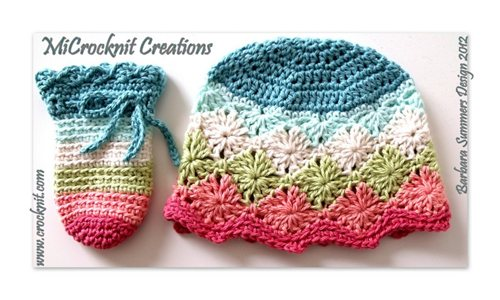 Free Crochet Baby Hat And Mittens Pattern : Crochet Baby Hat and Mittens RAINBOW - Interweave