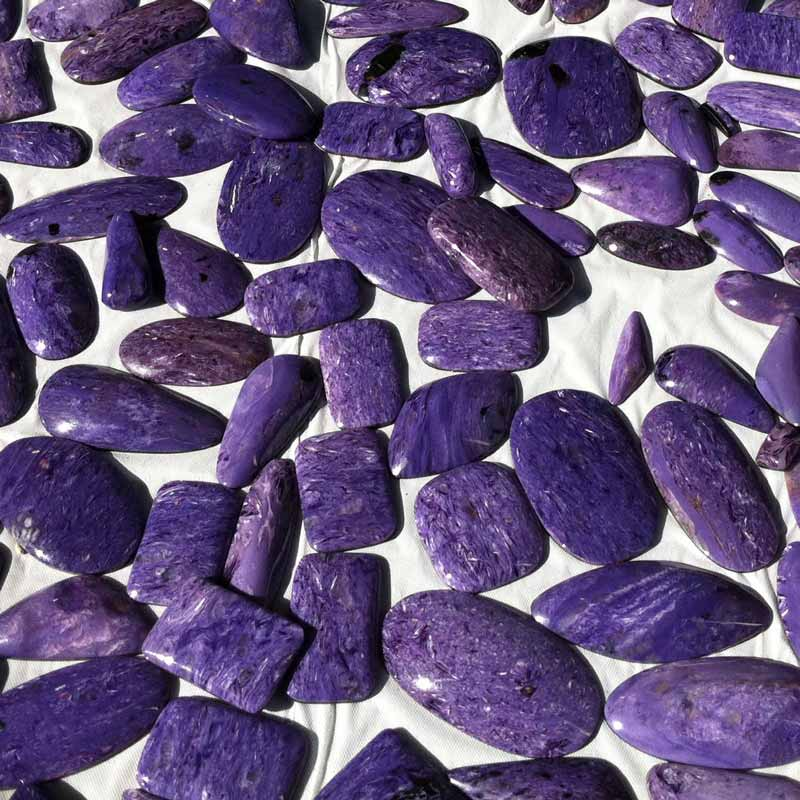 10+ Way Cool Cabochons from Around the World Seen in Tucson. Charoite from Russia
