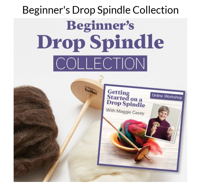 Find all the tools you need to learn to spin or teach a friend to spin in the Beginner's Drop Spindle Collection