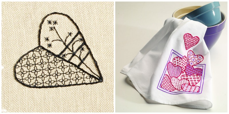 Blackwork heart and embroidered tea towel