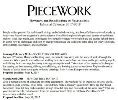 2018 PieceWork editorial calendar