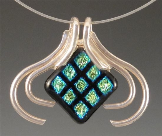 The Jacket metal clay and fused glass pendant by Arlene Mornick