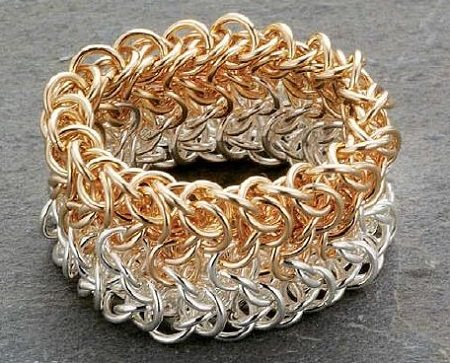 chain maille jewelry ring ombre mixed metal