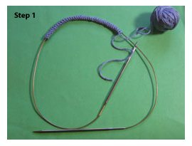Learn magic loop knitting, step 1