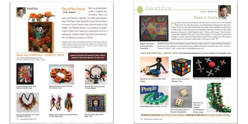 Beadwork Magazine Covers - the popular Dustin Wedekind bead boy column