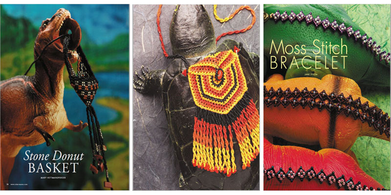 Beadwork Magazine Covers - the dinosaur/reptile themed issue