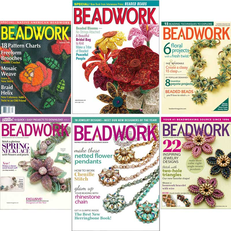 Beadwork Magazine Covers - 6 Covers Featuring Beaded Flowers