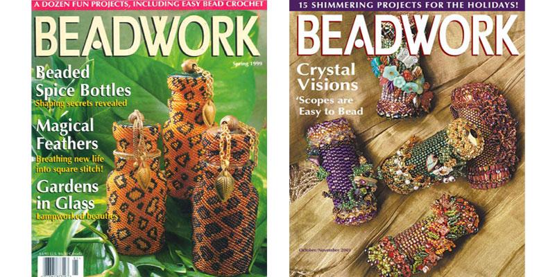 Beadwork Magazine Covers - beaded spice bottles (Spring 1999) and beaded kaleidoscopes (October/November 2001)