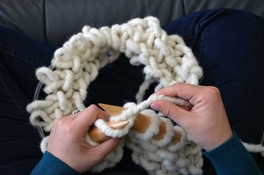 Chunky knitting isn't really for on-the-go knitting, but learn how to knit such bulky yarns in your lap!