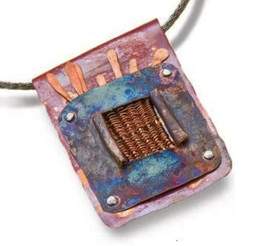 heat patina copper wire weaving pendant by Mary Hettmansperger