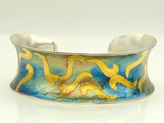 Keum boo jewelry designs: Silver Blue Gold keum boo cuff by Katherine Palochak of JazznJewelry