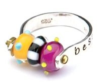 interchangeable lampwork glass bead ring by Cassie Donlen