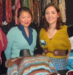 Host Eunny Jang with knitwear designer KT Baldassaro