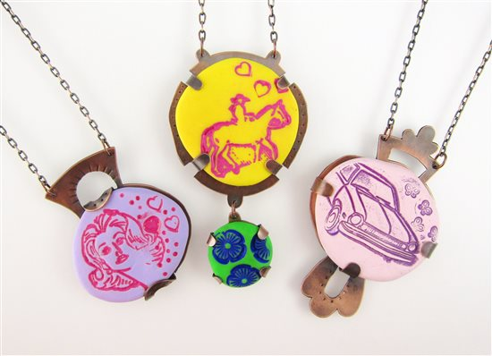 polymer clay pebble necklaces by Laurel Nathanson