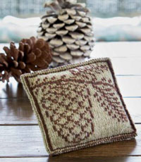 The Fir Cone Sachet from Interweave Knits Gifts 2014 is a perfect example of double-knitting colorwork.