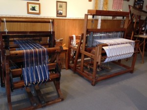 Two of the antique looms at the Fiber Factory