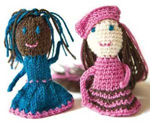 The BFF Finger Puppets is a pattern that includes a crochet finger doll and a knitting pattern. This pattern can be found in our free Exploring Knitting and Crochet Techniques eBook.