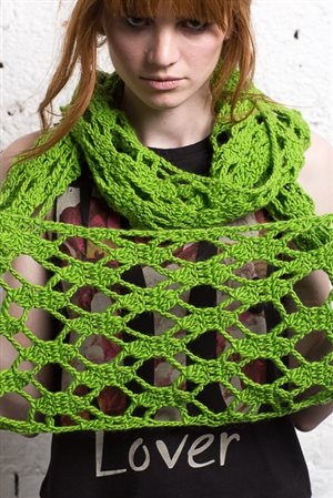 This lacy crochet cowl is long and sassy.