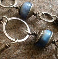 silver metal clay bead caps and links