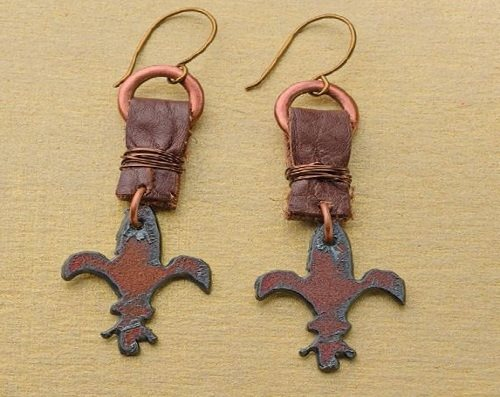leather and copper fleur de lis earrings