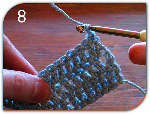 Double Crochet: This is how you turn the work to start the next row.