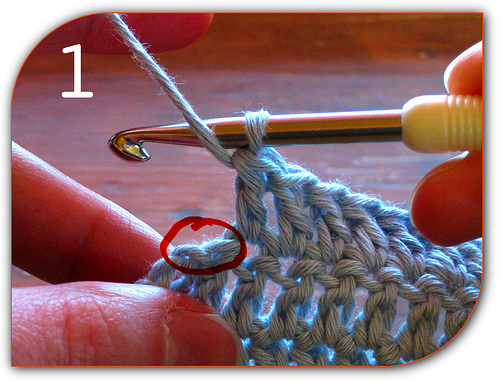 ... Crochet: The last stitches of the row, including top of turning chain
