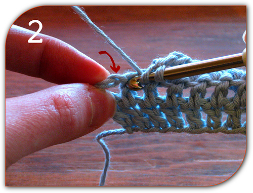 Double Crochet: Here I am working the second to last stitch from the row before.
