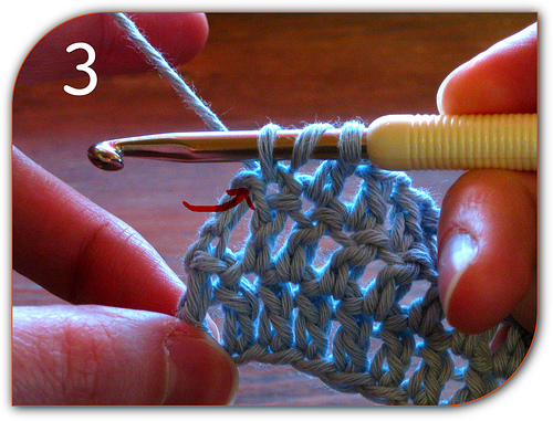 Double Crochet: Here you can see that the top of the turning chain from the last row has yet to be worked.