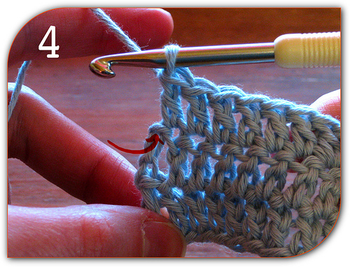 Double Crochet: As you can see it's easy to miss this final stitch.