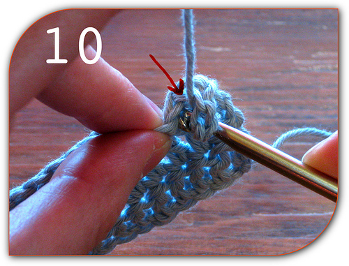 Double Crochet: Now you skip the first double crochet from the previous row.