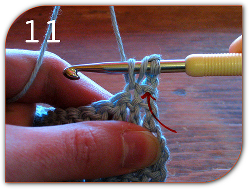 Double Crochet: Here's a better view of the first actual double crochet stitch of the next row.