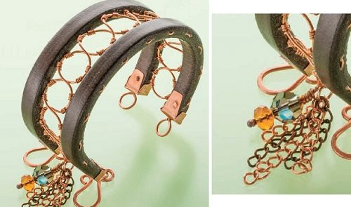 Tamara Honoman wire leather bead Crop Circles bracelet