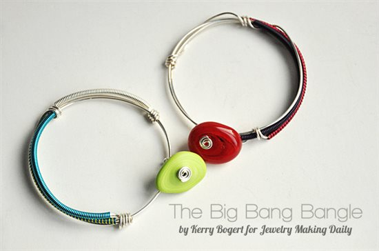 colored coiled wire bangles by Kerry Bogert