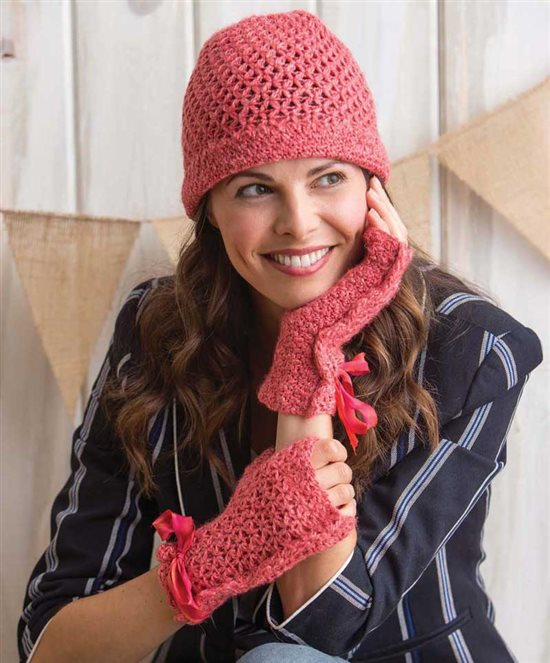 3 Skeins or Less; Crochet Beanie and Crochet Fingerless Mitts