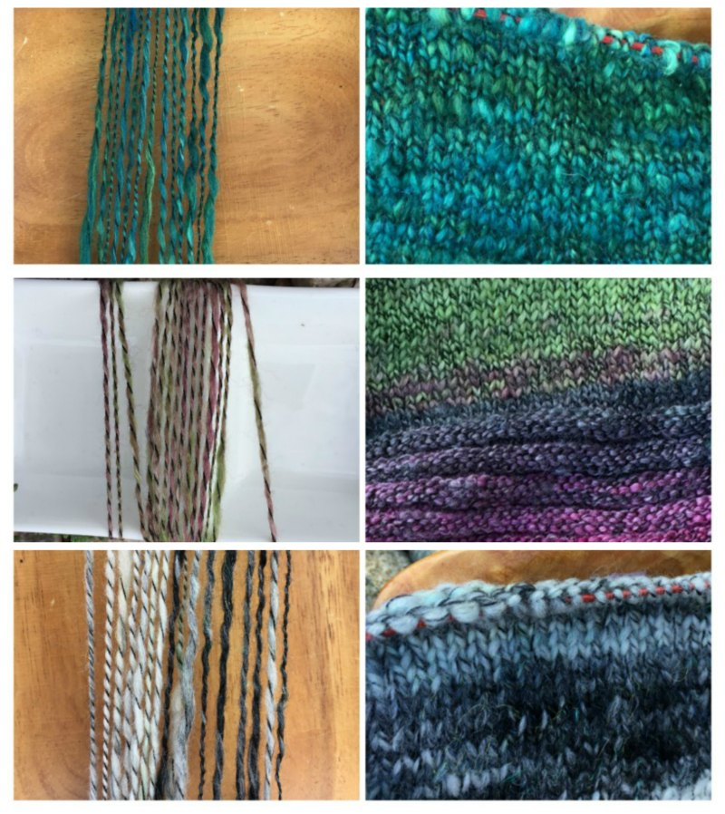 "Handspinning Textured Yarn: Yarn close-ups and knitted swatches for my black-wrapped ""art"" yarns."