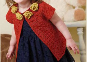 The Anna Cardigan by Robyn Chachula is a lightweight crocheted baby pattern that can be found in the free 9 Free Baby Crochet Patterns eBook.