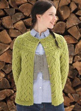 Knitting Pattern Yoke Cardigan : Leaf Yoke Cardigan from Knitting Daily TV Episode 402 - Interweave