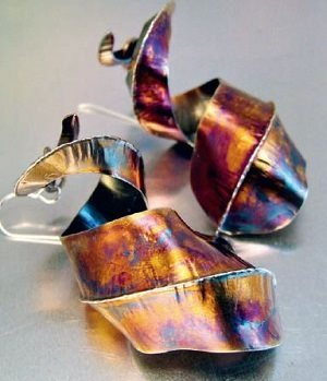 Freeform silver patinated earrings by Melody Armstrong