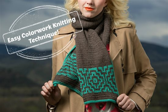 Easy colorwork knitting scarf pattern. Learn mosaic knitting!