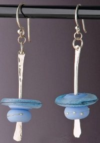 quick custom shank lampwork glass bead earrings by Denise Peck