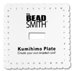 Foam kumihimo plate used to make a flat braid.