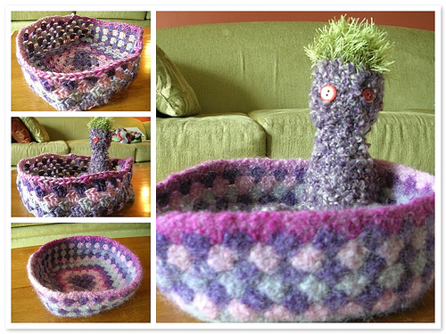 Felted Granny Square Bowl, With Dylan