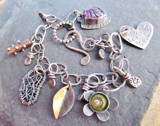 Keum boo jewelry designs: keum boo charm on bracelet by Diana Anton of artdi