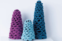Crochet these pine trees for the perfect holiday decor.