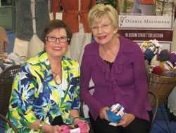 Expert Shay Pendray with knitter and author Debbie Macomber
