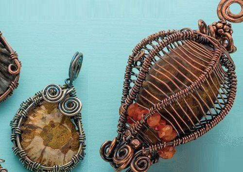 Basketweave and Enchanted Lantern wire bezel designs by Janice Berkebile