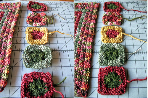Blocked Babette Crochet Blanket Squares: Before & After