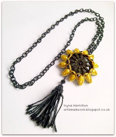 Sunflower necklace by Iryna Hamilton